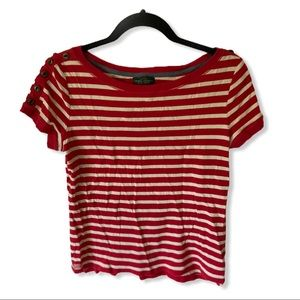 LRL Red/White Striped Button Sleeve Tee Shirt L